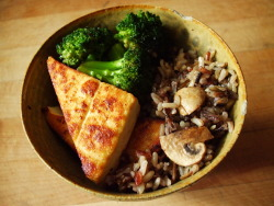 eatcleanmakechanges:  teriyaki tofu with broccoli, and wild rice with mushrooms