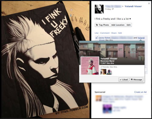 "Yolandi ""LIKED"" the drawing I did of her… Gahhh!!"
