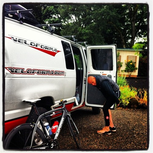 Mark gearing up for today's wet Veloforma Winery Ride (Taken with Instagram)