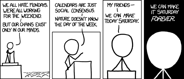 rispostesenzadomanda:  altrochenuovonuovo:(via xkcd: Weekend)