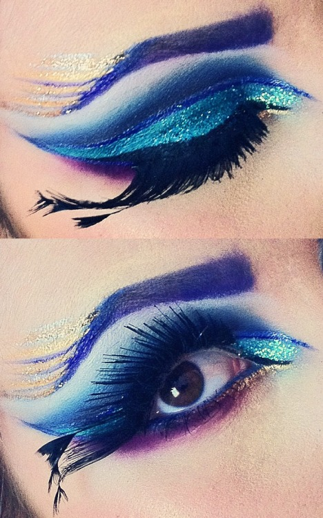 makeupftw:  peacock inspired eye makeup. ashleyswagner.tumblr.com youtube.com/missashwag