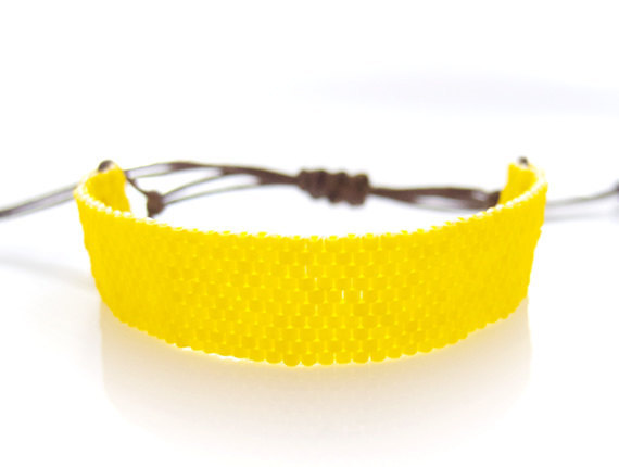 Yellow Beaded Bracelet Yellow Cord Bracelet by JeannieRichard