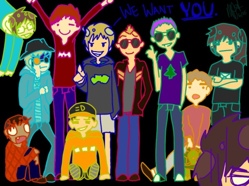 Okay, so here's a picture I spent a while on of my friends and I… Does anyone have something to say (like, first impressions) about each person?? And can anyone guess who I am ;u;??