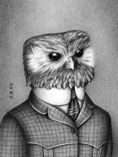 The Laughing Owl went extinct in 1914. So Brian R. Williams drew the Laughing Owl in clothes that were popular in 1914. Awesome!