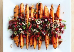 Grilled sweet potato and cherry salsa: yum yum yum!