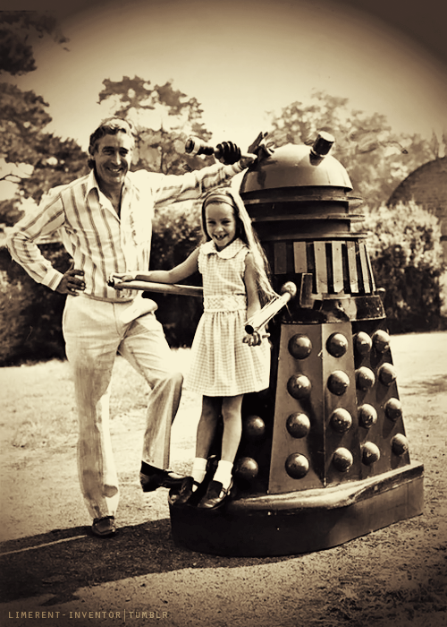 doctorwho:  Terry Nation (creator of the Daleks) and his daughter. And a Dalek.