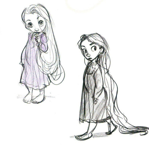 "penciltests:  Model Sheet Monday ""Tangled"" 2010 These aren't exactly model sheets, they're character development sketches. In between concept and final design. A lot of these are notes to the character modelers and animators. They're really fun to look at though. I also just really like Rapunzel, that's the main reason I'm posting them. Rapunzel designed by Glen Keane."