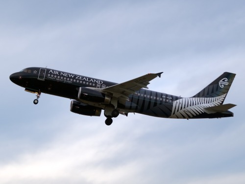 "The second of the 2 ""All Blacks"" A320s taking off from Christchurch Type: Airbus A320-232 Registration: ZK-OJR Location: Christchurch International Airport Date: 23/06/2012"