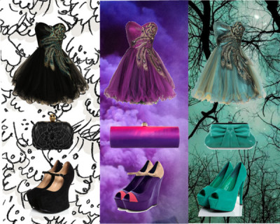 mirneze:  #black #purple #green by miranydia featuring cocktail prom dresses  Cocktail prom dress, $170Cocktail prom dress, $170Cocktail prom dress, $170Wedge sandals, $62Green shoes, $48Charlotte Russe peep toe wedge, $20Amanda Pearl clutch handbag, $995Melie Bianco patent handbag, £54Contemporary Black and White Wallpaper by Vivienne Westwood, £64Celestial print Moon and Stars Zodiac Blue decor whimsical June…, $15