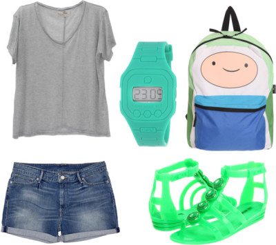 thepolyvorecollection:  Finn the Human by pastelised featuring short shorts  J Brand t shirtLevi Strauss & Co short shorts, €35Love Moschino jelly gladiator sandals, $105Knapsack bag, $35Water resistant watch, $25