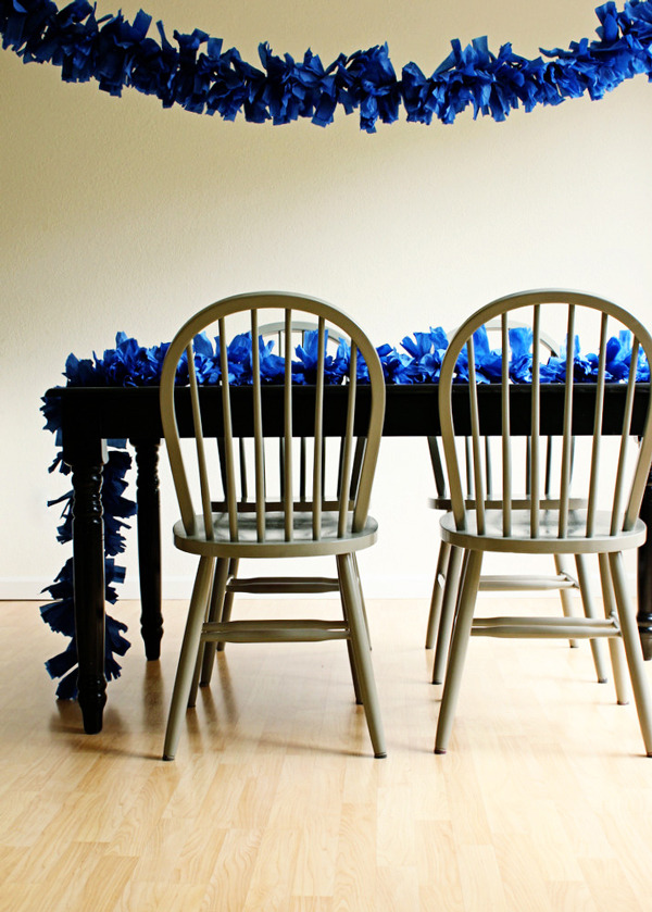 Giant Fringe Garland | Oh Happy Day A friend of mine is getting married soon and is doing it on a super tight budget. That means things like decorations need to be super cheap. This garland is a perfect way to decorate because it fills up the space but the cost is so minimal - all you need is crepe paper!