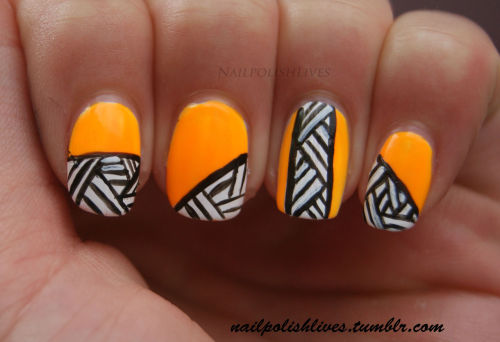nailpolishlives:  Rainbow favorites - Orange! The second Rainbow favorites day! It was kind off difficult to choose my favorite orange, because there are lots in my stash.. The color I chose is Sun Worshiper by China Glaze! This is a very bright neon color, really pretty:) I also made an easy nail art with black and white, hope you like it! Don't forget to check the other girls' favorite orange! www.manicurity.com http://9mluniverse.blogspot.com/ http://captivatingclaws.blogspot.com/ http://web.stagram.com/n/atlcatsmeow/ http:/www.sytycp.blogspot.com Www.sincerelyobsessedwithpolish.blogspot.com Footballandfingernails.blogspot.com wwww.nailpolishlane.blogspot.com http://happynailsuk.blogspot.com polishandsuch.blogspot.com Nubbinnails.blogspot.com http://followtheyellowpolishroad.blogspot.com/ http://wwww.freshairandfashion.blogspot.com http://fancyphalanges.blogspot.com/ mylifeinpolish.blogspot.com www.lacquerorleaveher.blogspot.com lieslovesprettythings.blogspot.com http://fesnails.blogspot.com/ lightyournails.blogspot.com http://natrcolorsnmusic.blogspot.in/ thiamere.blogspot.com http://nailpolishrants.blogspot.com/ www.kellyskolors.com  http://lacquerdreams.blogspot.com.au