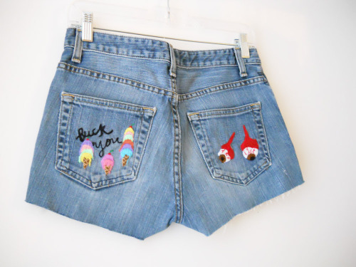 Ice cream and Eyeballs embroidered shorts on Etsy