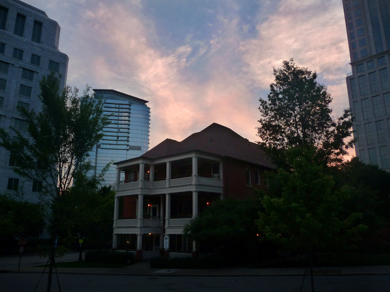 Sunrise over Margaret Mitchell House, the home where Gone With the Wind was written.