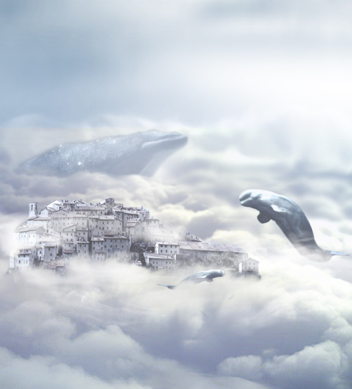 mowr-blog:  City in the clouds A surrealistic world I have created. It kind of relates to my older creation with the whales. Nothing special, but looking beautiful.  Let me love you.