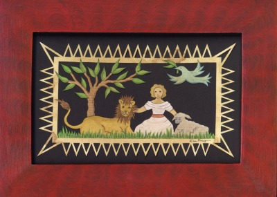"Little Child Shall Lead Them (Girl)Painted Scherenschnitte5"" x 7"" Framed Size"