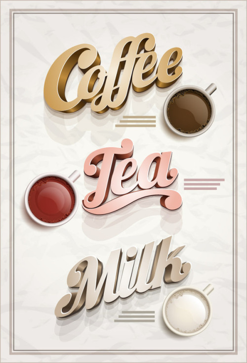 Coffee, tea & milk.  Vector illustration and design.