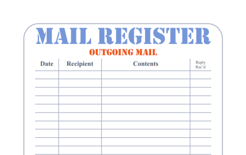 Mail Register Printable Forms: A simple Mail Register form for keeping track of your pen-pals, mail swaps, letters to Grandma, whatever you want!