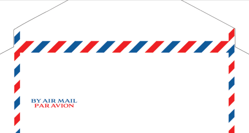"Envelope Templates - Monarch-Size Airmail (7.5"" x 3 7/8"") More envelope templates, this time allowing you to print your own air mail envelopes on letter-size paper. They come in three variations: plain; with a verbal ""BY AIR MAIL/PAR AVION"" indicator; and with a classic Art-Deco-style blue label (a reproduction of a 1936 Imperial Airways design).  click on image to go to the original post"