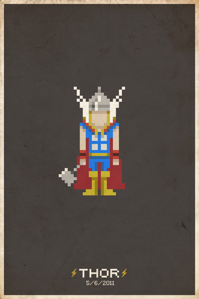 geekmythology:  Thor Pixel Poster by slaterman23 on Flickr.