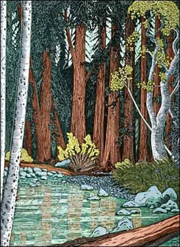 Japanese style woodcut prints by Tom Killion