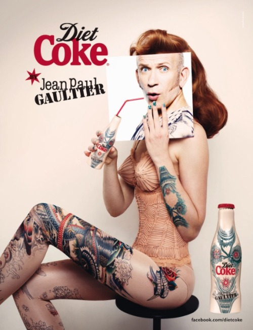"Jean Paul Gaultier has released the third bottle in his #DietCokeJPG collection. ""Tattoo"" demos his passion for body art, with a head-to-toe design reminiscent of past catwalk collections. The campaign image was once again shot by Stéphane Sednaoui."