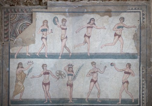 "Mosaics from ""The Chamber of Ten Maidens"" at Villa Romana del Casale, 3rd-4th century A.D."