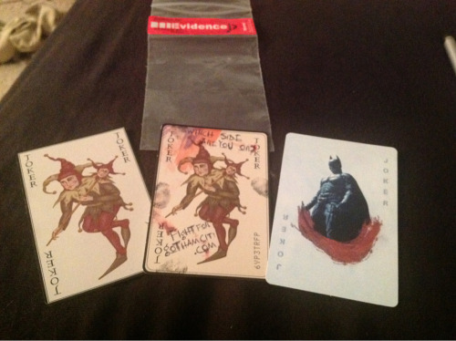 'The Dark Knight' Joker cards. From left to right: card that came with the Joker Movie Masters action figure, card that came with the 'The Dark Knight' limited edition Nokia phone (yes, I did buy that phone and it was kinda cool), and a special card from Best Buy promoting the Blu Ray release.