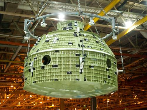 Readying Orion for Flight The NASA team at the Michoud Assembly Facility in New Orleans has completed the final weld on the first space-bound Orion capsule. The Exploration Flight Test 1 (EFT-1) Orion will be shipped to the Kennedy Space Center for final assembly and checkout operations.  The EFT-1 flight will take Orion to an altitude of more than 3,600 miles, more than 15 times farther away from Earth than the International Space Station. Orion will return home at a speed of 25,000 miles, almost 5,000 miles per hour faster than any human spacecraft. It will mimic the return conditions that astronauts experience as they come home from voyages beyond low Earth orbit. As Orion reenters the atmosphere, it will endure temperatures up to 4,000 degrees F., higher than any human spacecraft since astronauts returned from the moon.  Image Credit: NASA/Eric Bordelon (via Readying Orion for Flight)