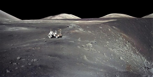 Apollo 17 at Shorty Crater In December of 1972, Apollo 17 astronauts Eugene Cernan and Harrison Schmitt spent about 75 hours on the Moon in the Taurus-Littrow valley, while colleague Ronald Evans orbited overhead. This sharp image was taken by Cernan as he and Schmitt roamed the valley floor. The image shows Schmitt on the left with the lunar rover at the edge of Shorty Crater, near the spot where geologist Schmitt discovered orange lunar soil. The Apollo 17 crew returned with 110 kilograms of rock and soil samples, more than was returned from any of the other lunar landing sites. Now forty years later, Cernan and Schmitt are still the last to walk on the Moon. Image Credit: Apollo 17 Crew, NASA