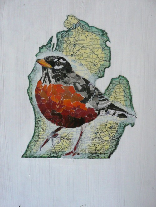 American Robin by Betsy Emrich, recycled magazine pages collage msbetsy.etsy.com