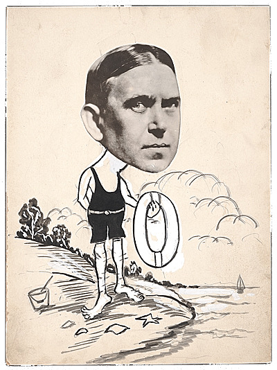 H.L. Mencken modeling the best in late 1920's bathingwear. Collage portrait of H.L. Mencken, ca. 1929. Charles Green Shaw papers, Archives of American Art, Smithsonian Institution.