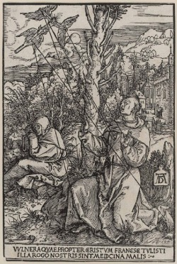 hatefvck:  St. Francis receiving the Stigmata woodcut by Albrecht Durer, 1503-4  i've never seen this albrecht durer piece before. cool one!