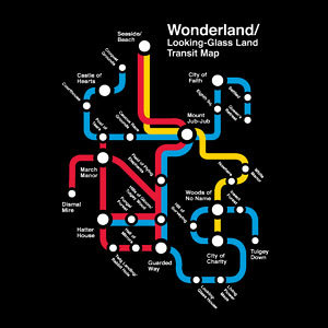 Wonderland Transit Map. Awesome. (via ThinkGeek :: Wonderland Transit Map)