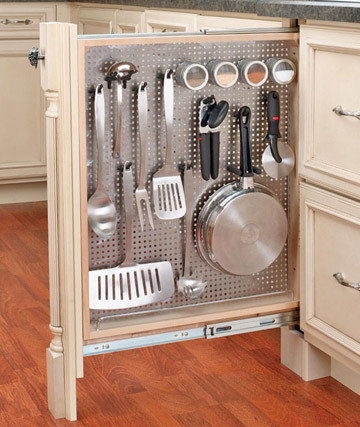Here is the first of 33 kitchen storage ideas that may get your creative juices flowing.  This is not our first posting on clever kitchen storage, nor is it our first on rollout drawers, but it is one of the best.  This comes from Shelterness, a great home idea generator.