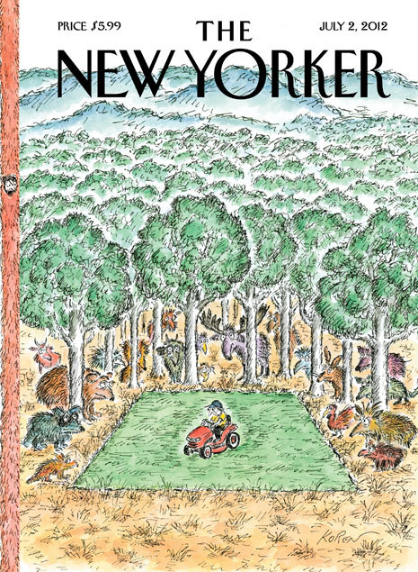 "The idea for this week's New Yorker cover, ""Summer Chore,"" came from artist Edward Koren's own life. ""This summer I'll be working on some etchings in my workshop and mowing my lawn!"" he said. ""Actually, that's the problem: I mow the lawn as little as I can—I think of it as time-wasting at its worst. I'm surrounded by people with huge lawns—I don't know why they bother. I think of them as having retirement lawns, you know, empty-life lawns. I stretch my mowing as long as I can."""