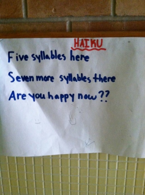 Haiku by a 4th Grader via Buzz Feed