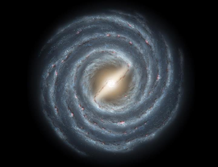 "Spitzer Milky Way Galaxy""A recent survey of stars conducted with the Spitzer Space Telescope is convincing astronomers that our Milky Way Galaxy is not just your ordinary spiral galaxy anymore. Looking out from within the Galaxy's disk, the true structure of the Milky Way is difficult to discern. However, the penetrating infrared census of about 30 million stars indicates that the Galaxy is distinguished by a very large central bar some 27,000 light-years long. In fact, from a vantage point that viewed our galaxy face-on, astronomers in distant galaxies would likely see a striking barred spiral galaxy suggested in this artist's illustration. While previous investigations have identified a small central barred structure, the new results indicate that the Milky Way's large bar would make about a 45 degree angle with a line joining the Sun and the Galaxy's center. DON'T PANIC … astronomers still place the Sun beyond the central bar region, about a third of the way in from the Milky Way's outer edge.This artist's rendering shows a view of our own Milky Way Galaxy and its central bar as it might appear if viewed from above. An arrow indicates the location of our Sun. Astronomers have concluded for many years that our galaxy harbors a stellar bar, though its presence has been inferred indirectly. Our vantage point within the disk of the galaxy makes it difficult to accurately determine the size and shape of this bar and surrounding spiral arms.New observations by the GLIMPSE legacy team with NASA's Spitzer Space Telescope indicate that the bar-shaped collection of old stars at the center of our galaxy may be longer, and at a different orientation, than previously believed. The newly-deduced size and angle of the bar are shown relative to our Sun's location. Our Milky Way galaxy may appear to be very different from an ordinary spiral galaxy.""   [Via Sky Image Lab]"