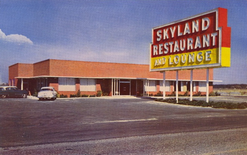 SKYLAND RESTAURANT AND LOUNGE The sign is almost as big as the restaurant.  SKYLAND RESTAURANT AND LOUNGE On U.S. 19–98–27A, South City Limits, Perry, FloridaServing from 6 a.m. to 10 p.m. daily