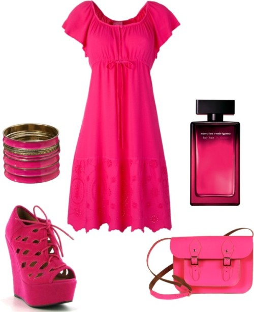 A day to the office by shoestoall featuring narciso rodriguez perfumeFuchsia dress, £60Leather satchelJane Norman fuschia jewelry, £15Narciso rodriguez perfume, $84
