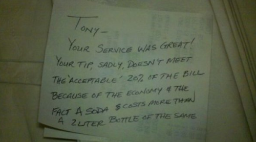 Cheap Guy Blames Economy for Bad Tip The jerk called, he hasn't paid them either.