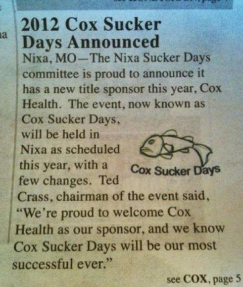 Cox Sucker Days Our local festival is really pinpointing their target audience.