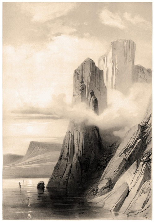 oldbookillustrations:  Rocks near North Cape, Norway A. Mayer, from Voyages en Scandinavie, en Laponie, au Spitzberg et aux Feröe (Travels to Scandinavia, Lapland, Spitsbergen and the Faroe Islands), under the direction of Paul Gaimard, volume of plates, Paris, 1852. (Source: archive.org)