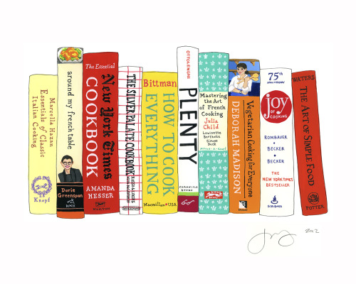 "Ideal Bookshelf 465: Food52© Jane Mount 2012 / 11""x15"" / gouache & ink on paper I painted a set of 10 essential cookbooks picked by the members of Food52! You can read about it here, or order a crazy discounted print of it (or a discounted 10-book painting!) here."