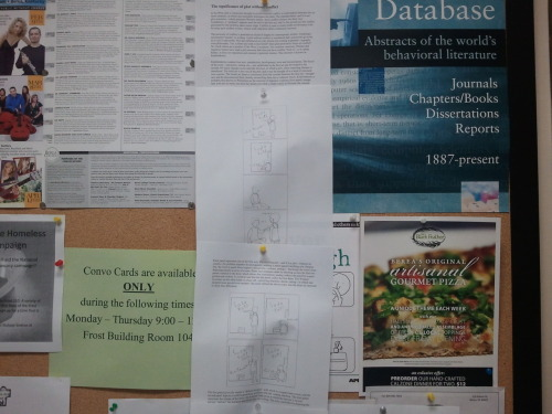 "We recently received this photo of a bulletin board with our piece ""The significance of plot without conflict"" tacked to it. The picture was taken at a Kentucky college, near literature-related classrooms. We offer thanks to those who posted the article and to those who sent us the image. Still Eating Oranges"