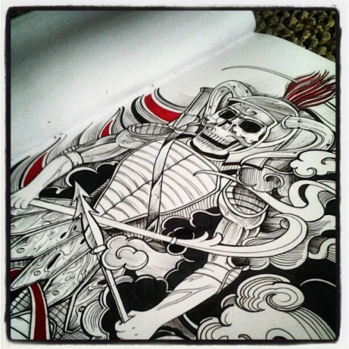 Progress shot on a samuri sketch for my homie High Guys ribpiece. #art #sketchbaselbibbs #freehand #freestyle #micron #tattoo  (Taken with Instagram)