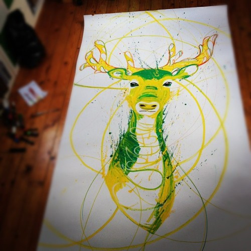 bentheillustrator:  Big deer, done. #hellodeer (Taken with Instagram)