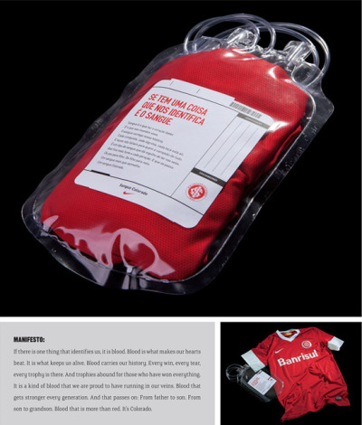 Colorado Blood by F/Nazca Saatchi & Saatchi. When a team enters the pitch, every fan wants the players to give their blood, sweat and tears to the club. That's what inspired Nike for the launching of the new jersey of Sport Club Internacional. Known as Colorado (the red team), the red of its famous jersey was presented inside a blood bag.  The design of this jersey packaging is vivid, creative, and captivating. The attention to details such as the styrofoam container and the plastic cubes to represent ice make the concept feel even more complete.