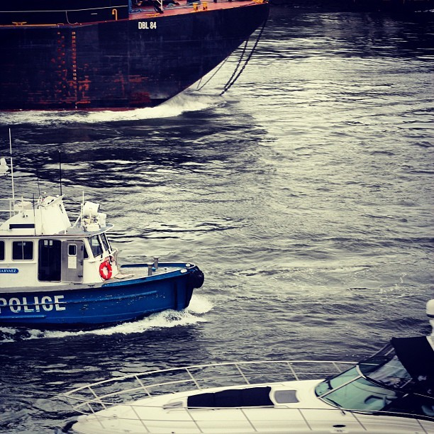 #boats on the #water #river #police #boat #nyc #newyork #white #black #blue #evening #summer #picoftheday #photooftheday #instaddict #instahub #instagram #webstagram #follow #followme #shoutout #ship #shipping (Taken with Instagram at East River)