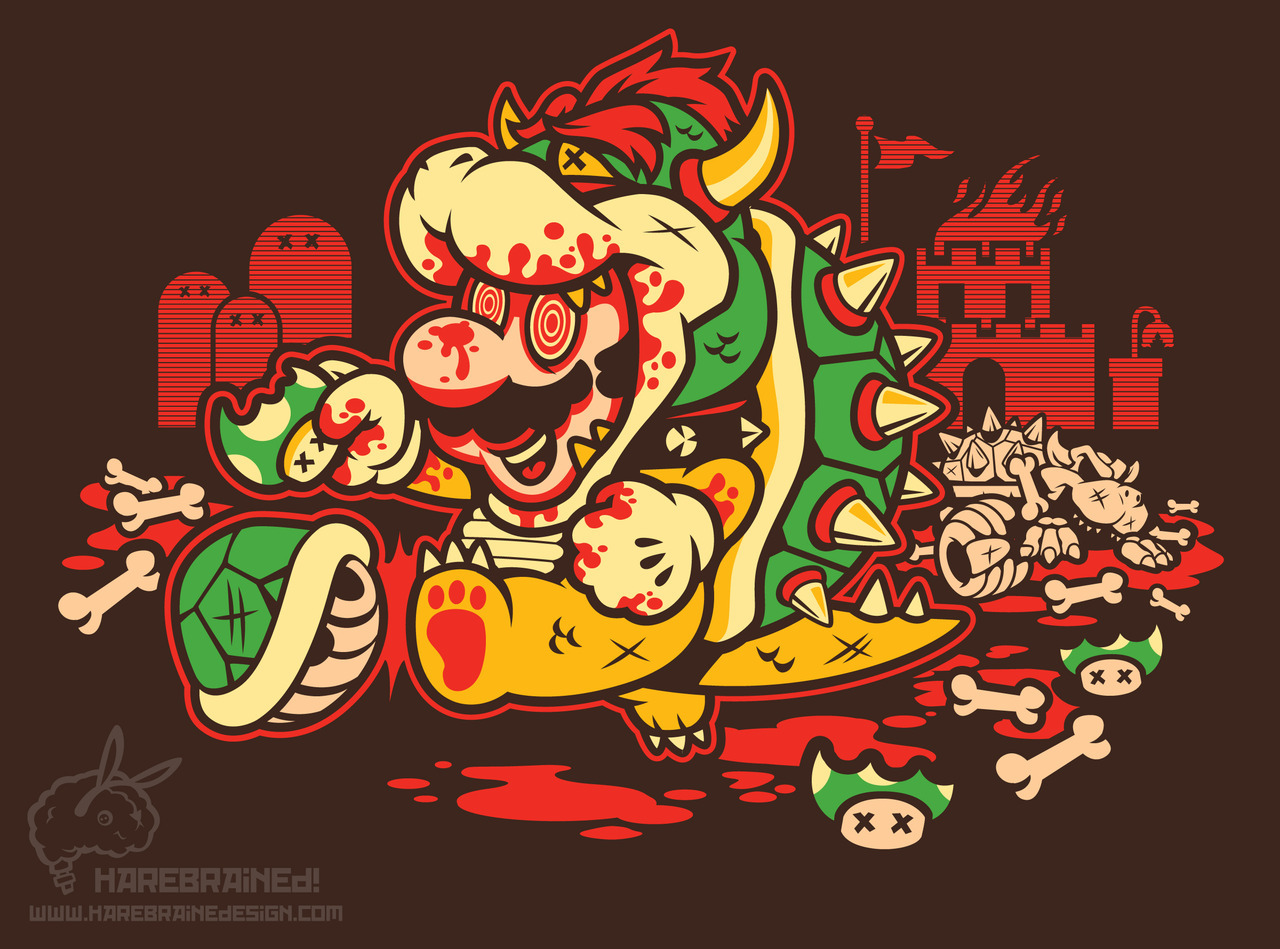 ianbrooks:  Say No To Drugs! by Harebrained Shirts, prints, and stickers available at redbubble. I think the truth everyone who's ever played any Super Mario Bros. game has eventually realized is that Mario is a very, very disturbed individual. I think he has a problem and we're all enabling him by repeatedly pressing B.  Teefury thinks this shirt might be a little too gruesome to print, go let them know you're a sadist and would gladly wear the skin of your enemy over on their Facebook Page.  Artist: tumblr / facebook / shop